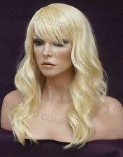 HUMAN HAIR Blend Wig Wavy Pale Blonde Heat Safe Bangs WBWV 613