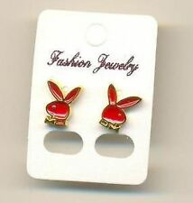 Bunny Stud Earrings. Gold Outline with Red Enamel Feature.
