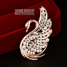 Lovely Charm AAA Cubic Zircon Hollow Swan Brooches Animal Pin For Women Xz046