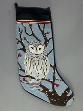Barn Owl Stocking Christmas Needlepoint Wool Woodland Cabin Decor Lands End