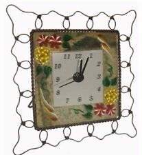 Desk Clock W/Mirror Painted Floral Design-Metal Wire Frame-Wall or Tabletop
