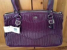 $278 COACH 45928 ONLY NEW 1 PURPLE MADiSON GATHERED ITALIAN Leather Small Bag