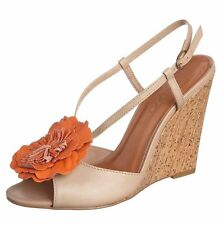 "Womens UK 6 Beige 4"" Wedge Heel Floral Leather Sandals By Via Uno RRP £85 NEW"