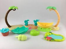 Littlest Pet Shop Palm Trees, Pond, Banana Boat, Leaf Boat Accessories