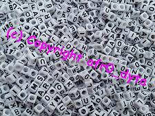 100 White Alphabet Mixed Letters Cube Beads 6mm - BUY 3 FOR 2