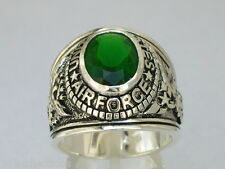 925 Sterling Silver United States Air Force Military May Emerald Men Ring Size 8