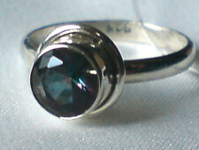 STERLING SILVER RINGwith 10mm ROUND FACETED MYSTIC TOPAZ STONE UKsizeN £18.95nwt