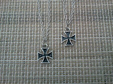 BIKERS MOTORCYCLE 2 HIS & HERS or a FRIEND MALTESE IRON CROSS NECKLACE PENDANTS