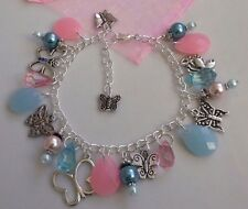 Hand made tibetan silver butterfly pearl charm bracelet blue pink 7.5inch gift