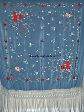 Hand embroidered wedding evening wrap spanish silk flamenco piano shawl, mantone
