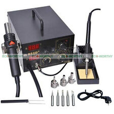 2in1 852D+ SMD Solder Desolding / Soldering Rework Station & Hot Air Gun Holder