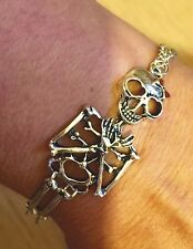Skeleton with Bow Bracelet, Vintage, Rockabilly, Steampunk, Day of the Dead, Emo