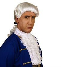 Mens Colonial Wig White 18th Century Peruke Fancy Dress Civil War Nobleman Judge