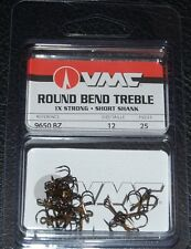VMC 9650 Round Bend Treble Hooks Size 12  Pack of 25 9650BZ-012 Bronze 1X Strong