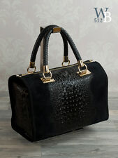 MADE IN ITALY Damentasche Echt Leder Krokodil Lady Stamp Cube Bag Tasche 587SK