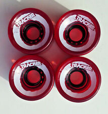 TRACKER longboard/ cruiser Wheels 65mm X 50MM CLEAR RED / WHITE 95A (310)