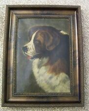 Antique Saint Bernard Dog Oil Painting Framed