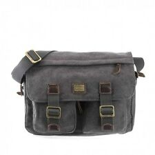 Troop London TRP0271 Black Cotton Canvas Satchel Style Messenger Shoulder Bag