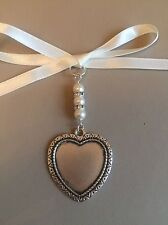 Bridal Bouquet Heart Photo Frame Memory Charm Wedding Handmade Swarovski Beads