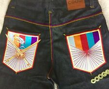 Coogi Men's Denim Jean Shorts Hip Hop Street Wear NWOT Sz 34 Rainbow Sword Eagle
