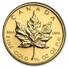 1988 Canada 1/4 oz Gold Maple Leaf BU - SKU #82827