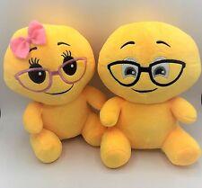"""New Cute Couple Emoji Yellow doll Nerd Boy/girl 9.5"""" Stuffed soft plush toy 2pcs"""