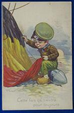 BIMBO SOLDATINO  cuce la bandiera  children  ill. Castelli viag 1919  f/p#2664