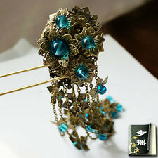 Gemstone antique hair stick Copper coated Asian style hair pin COSPLAY EVERYDAY