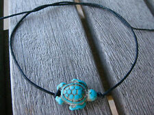 SEA TURTLES BRACELET ANKLET HOWLITE TURQUOISE BLACK WAXED COTTON STRING TIE