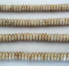 50 6mm Czech Glass Rondelle Beads: Luster Opaque White - Picasso