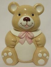 Vtg Geo Z Lefton Teddy Bear Bank Porcelain Coin Floral Decor 1984 #04193 Nursery