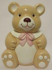 Vtg Geo Z Lefton Teddy Bear Bank Porcelain Coin Floral Decor 1984 #04193 Nursery