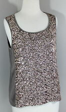 CHICO'S Sz 1 S Brown Gold Sequin Tank Top TS2-47