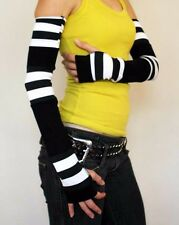 1224 Extra Long Black White Patchwork Fingerless Gloves Striped Arm Warmers