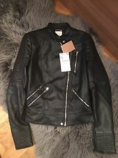 Zara Faux Leather Biker Jacket With Zips Size XS New With Tags