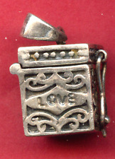"""Vintage Sterling Charm Pendant - """"Love and Peace"""" Prayer Box - Opens"""