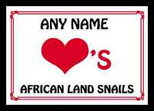 Love Heart African Land Snails Personalised Mousemat