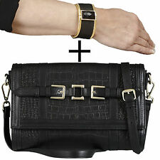 2 IN 1: BELUCIA THIRZA CLUTCH SCHULTERTASCHE SCHWARZ + GRATIS KELSY BANGLE