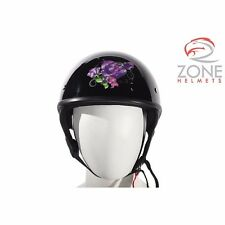 Women Shiny Black DOT Approved Motorcycle Helmet With Purple Rose Design HS1100