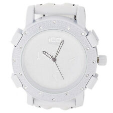 Iced Out Bling Fashion Uhr - KRUSHED weiß / schwarz