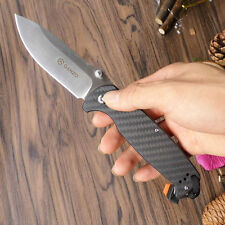 Ganzo G741 Tactical Tool Folding Knife 440C Blade Carbon Fiber Handle W/ Whistle