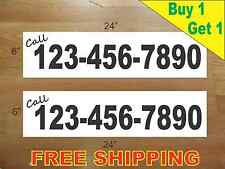 """CUSTOM PHONE NUMBER # BLACK Text 6""""x24"""" REAL ESTATE RIDER SIGNS Buy 1 Get 1 FREE"""