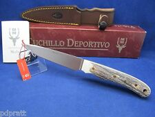 """Muela """"CRIOLLO"""" 9 3/4"""" Stag Fixed Blade Knife & Leather Sheath Mint In Box -14A"""