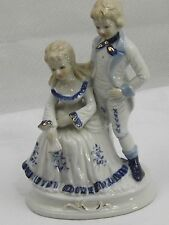 Regency Period Glazed Porcelain Figurine Young Lady Gent Cobalt Blue White Gilt