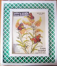 Vintage Gallery Crafts BUTTERFLIES Lattice Stitchery Crewel Embroidery Kit NIP