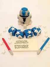 Edible In The Style Of R2-D2 Name Set Star Wars Cake Topper Icing Decoration
