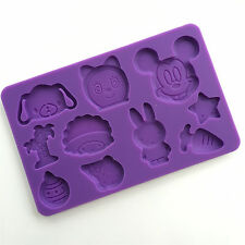 NEW Silicone Fondant Mold Cartoon Pig Cat Mouse Hedgehogs Rabbit Candy Chocolate