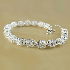 LADY HOT SALE SILVER PLATED HOLLOW CHAIN BRACELET CHARM WRIST BANGLE GIFT