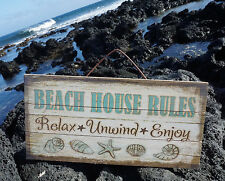BEACH HOUSE RULES Relax Unwind Enjoy Starfish Shells Wood Plank Home Decor Sign