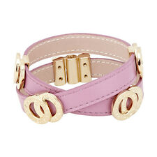 Bvlgari Pink Cyclamen Double Coil Leather Bracelet - Size Large